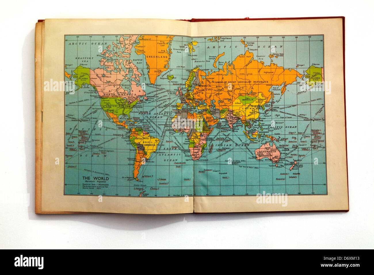 World atlas book stock photos world atlas book stock images alamy map of the world in an old book stock image gumiabroncs Image collections