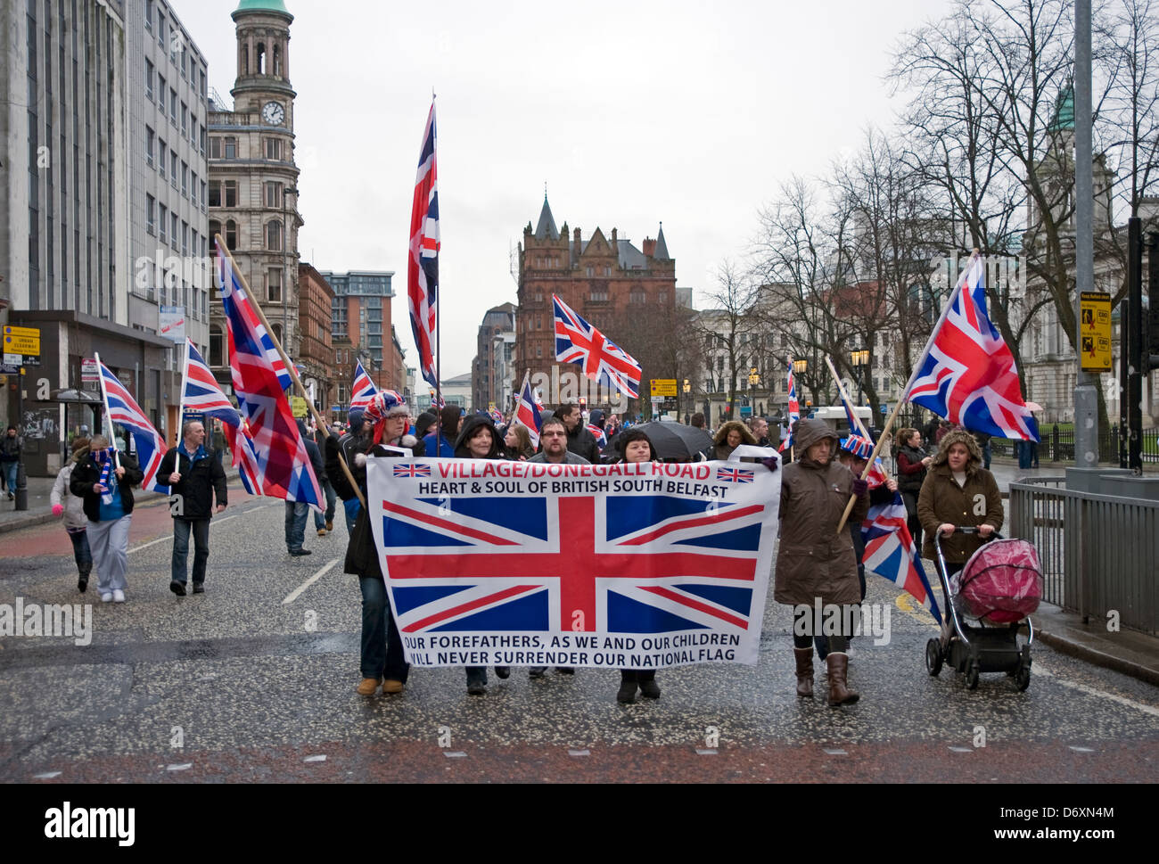 Continuing flag protests in Belfast City Centre. - Stock Image