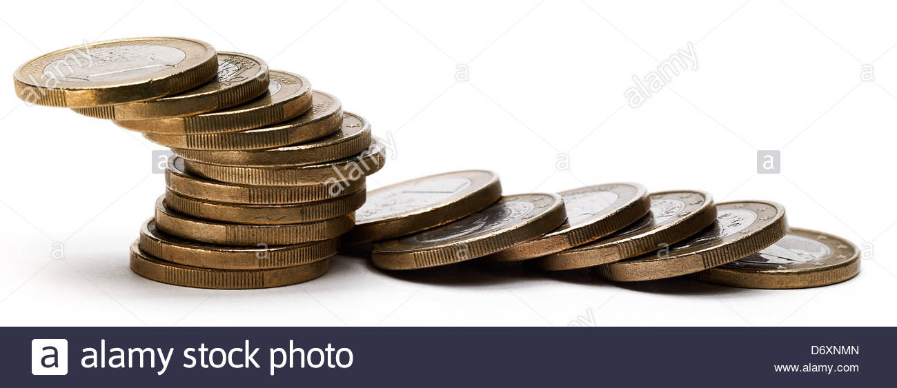 stack of one euro coins - Stock Image