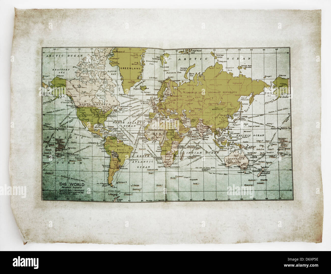 Map of the World on old dirty curled parchment - Stock Image