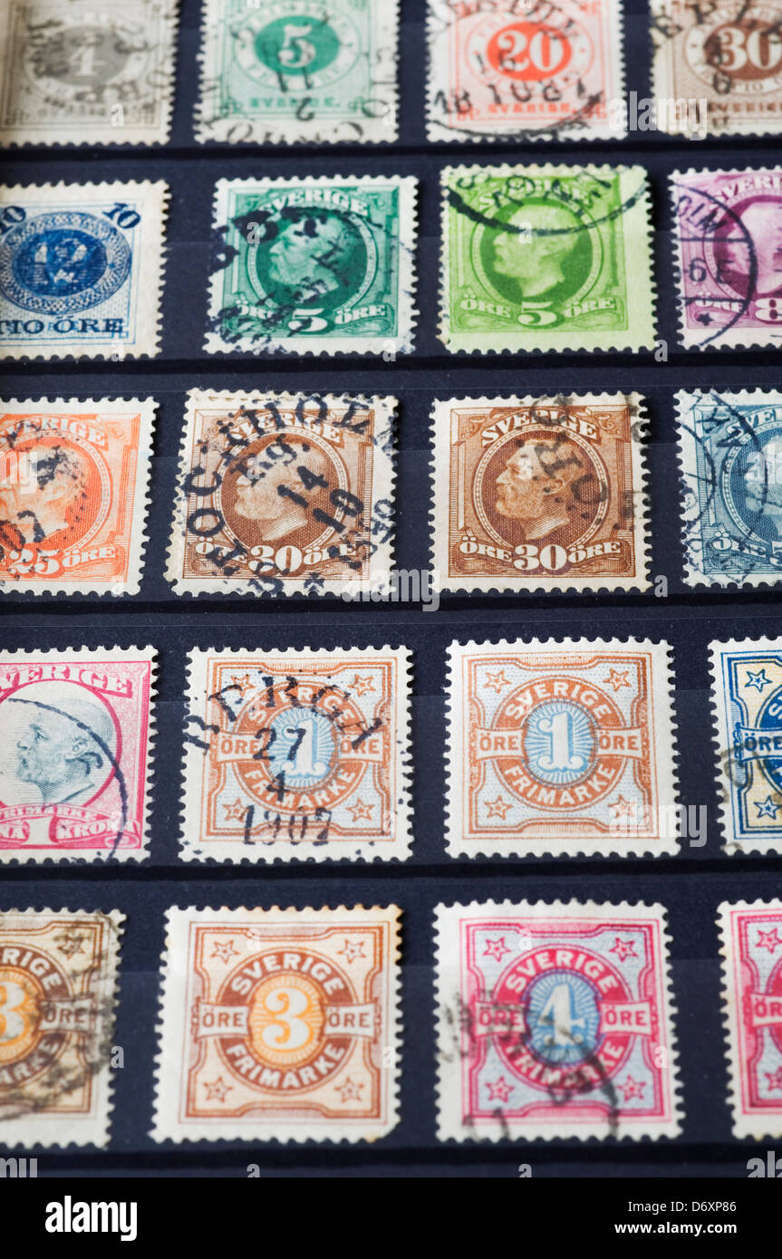 Swedish stamp collection - Stock Image
