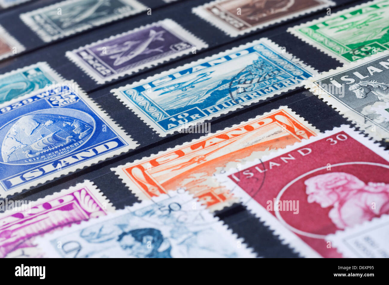 Icelandic stamp collection - Stock Image