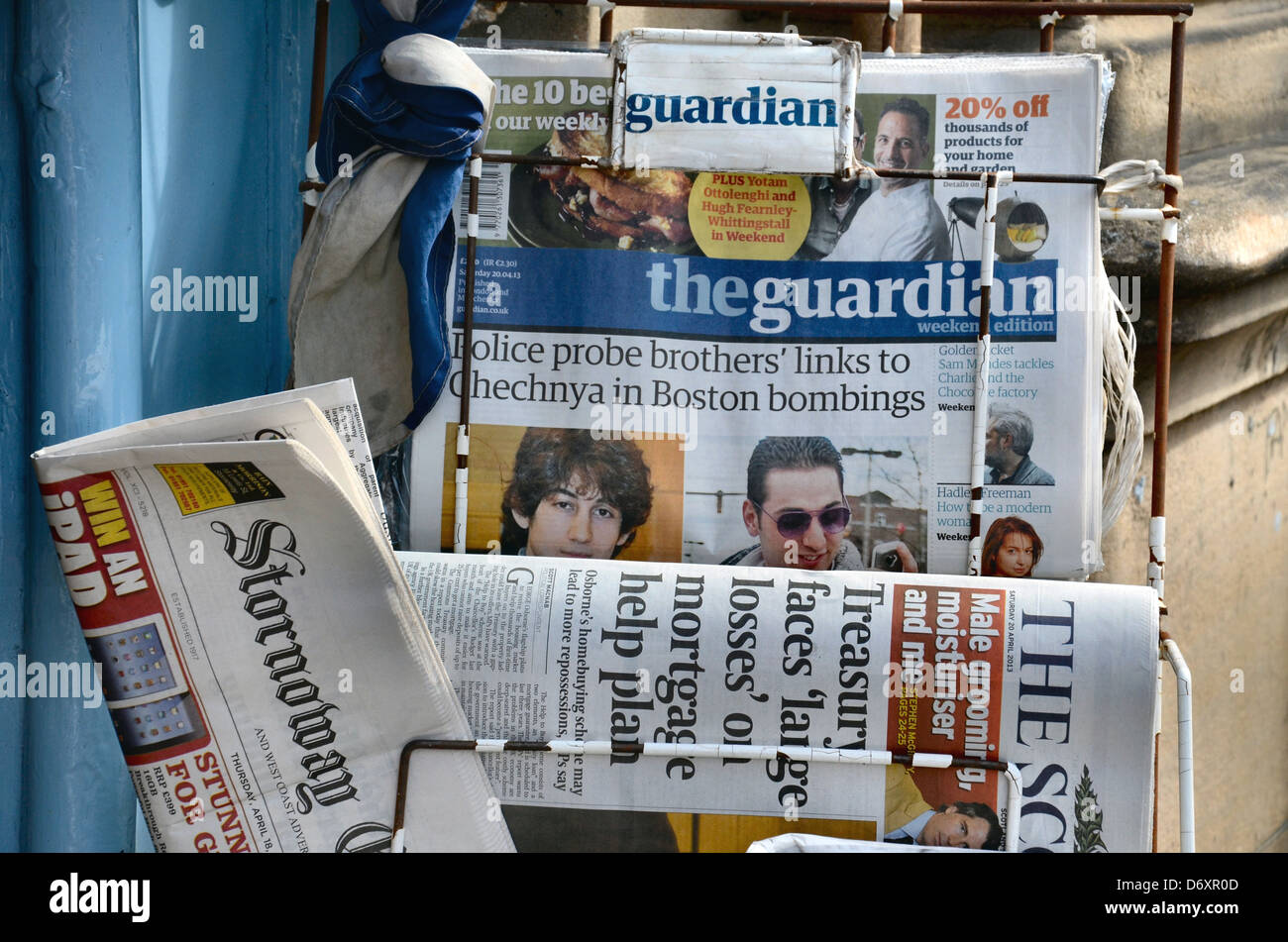 A selection of British newspapers outside a shop in Edinburgh, Scotland, UK. Stock Photo