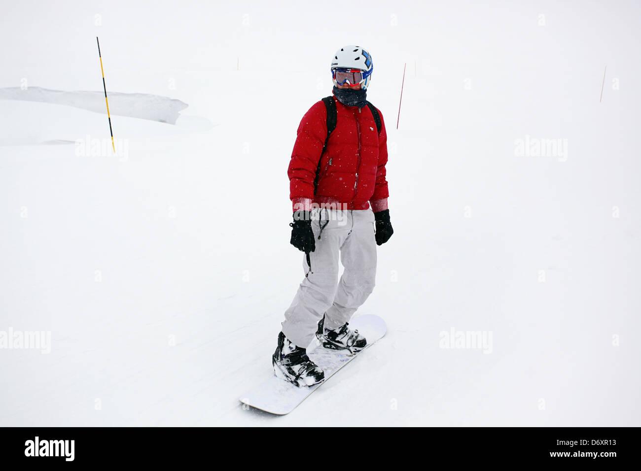 Snowboarding in Meribel, France - Stock Image