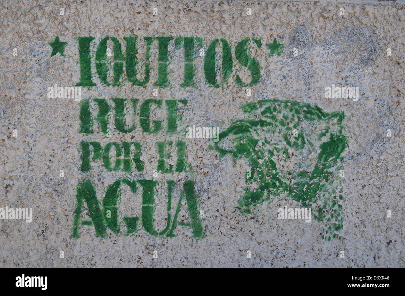 ´Iquitos - water roars´ stencil graffiti on a wall in Iquitos, Peruvian Amazonia - Stock Image