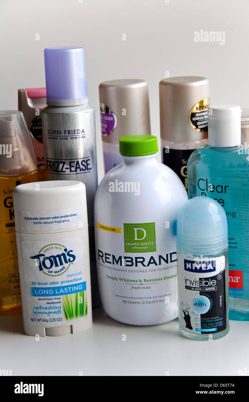 Deodorant, skin tonic, mouth wash, hair spray - Stock Image