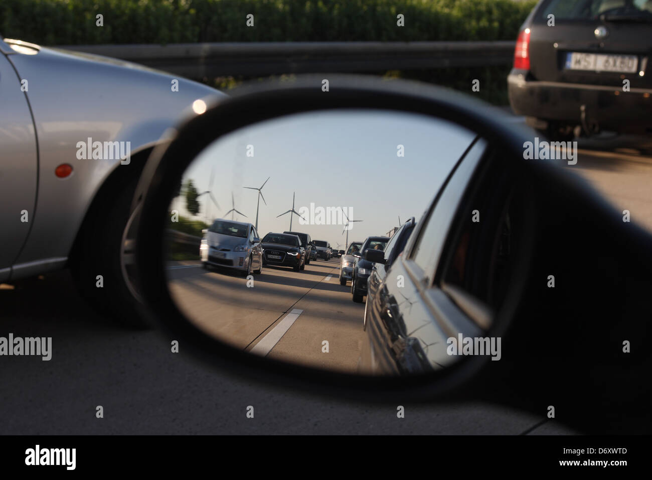 Nuernberg, Germany, jam on the A9 in the side mirror Stock Photo