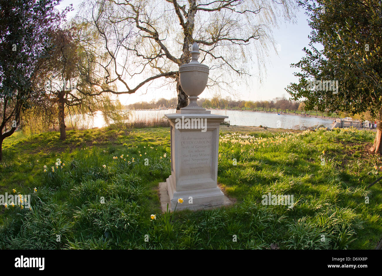 Queen Caroline's Memorial wife of George 3rd The Serpentine Hyde Park London UK Stock Photo