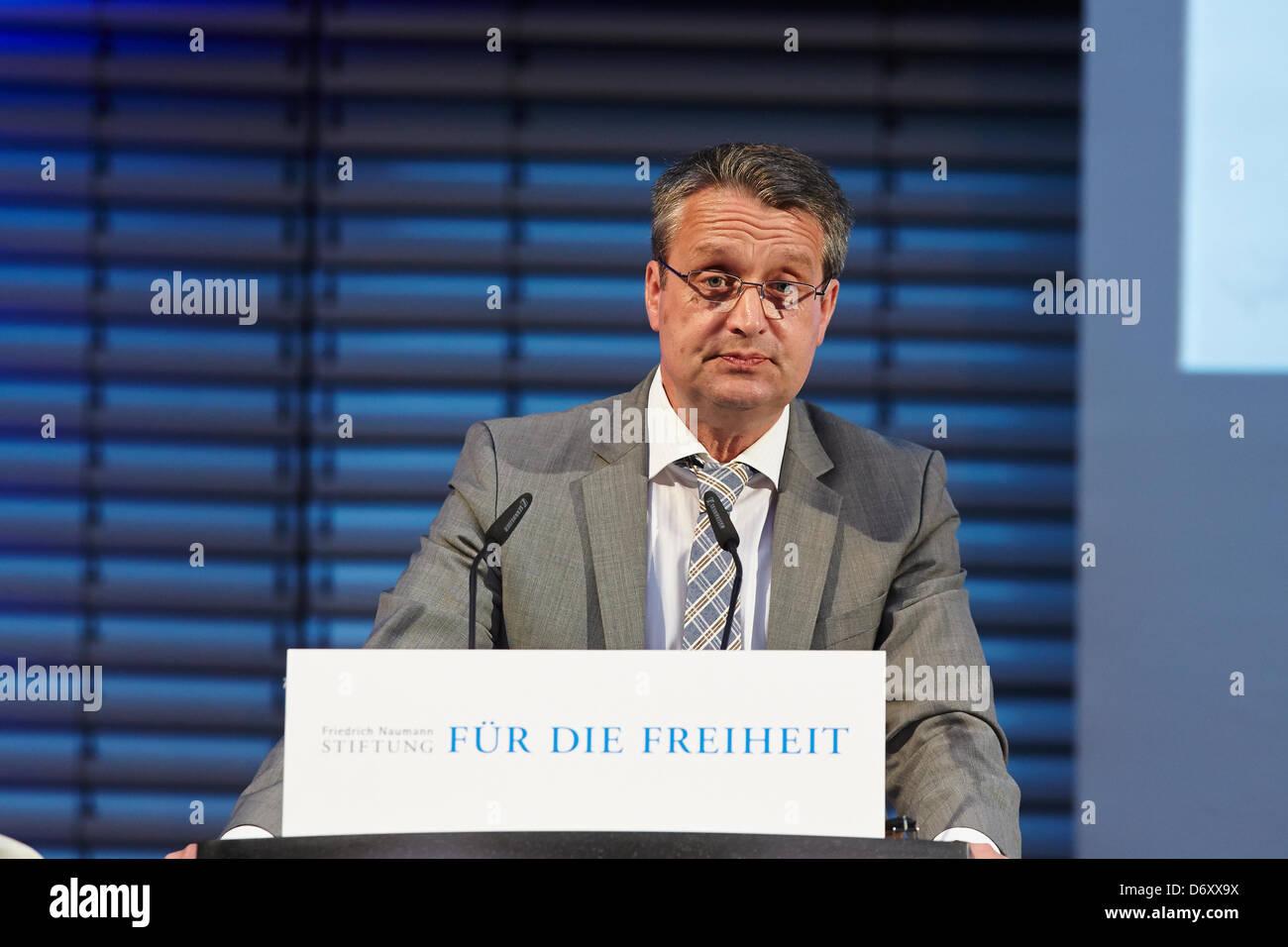 Berlin, 24 April, 2013. Gabor Steingart, a managing director of the newspaper 'Handelsblatt', holds the - Stock Image