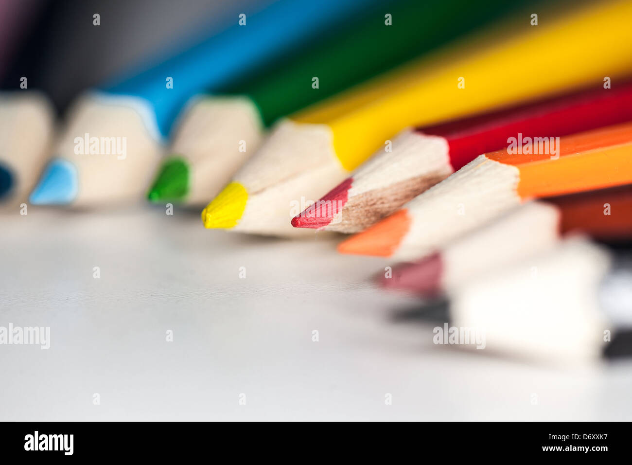 Coloured pencil tips. - Stock Image