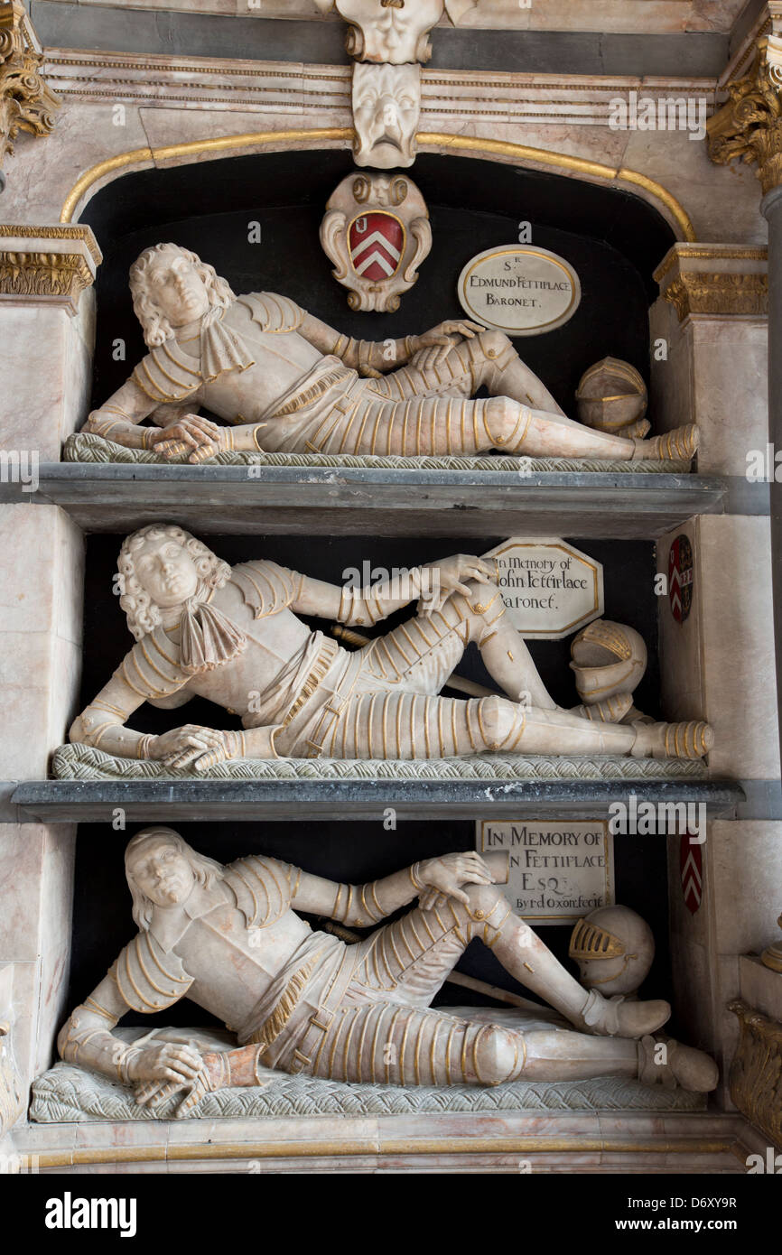 Fettiplace tombs 1613 in the chancel of St Mary's Church in Swinbrook - top Sir Edmund Fettiplace, John baronet, - Stock Image