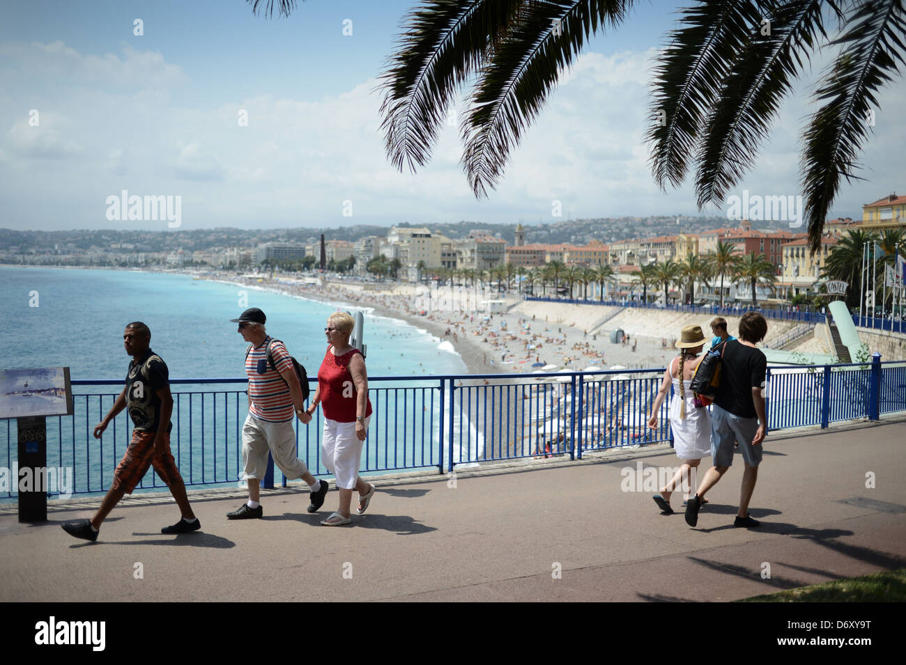 Nice, France, passers-by in front of the Promenade des Anglais - Stock Image
