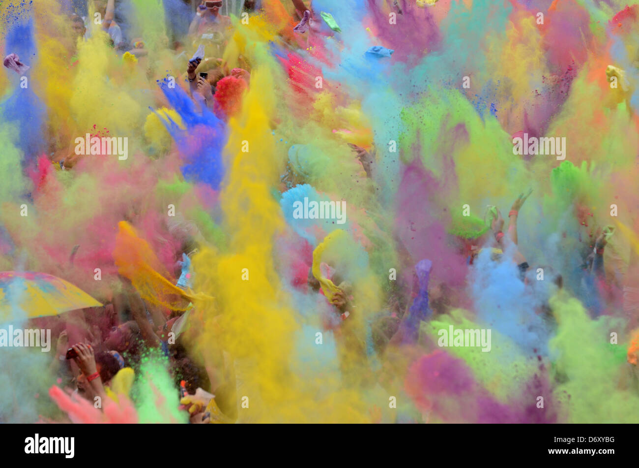 Berlin, Germany, Berlin celebrate the Indian Holi festival at Postbahnhof - Stock Image