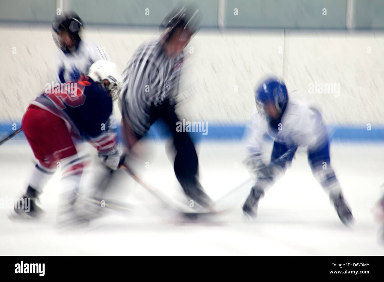 Blurred action of hockey faceoff. St Paul Minnesota MN USA - Stock Image
