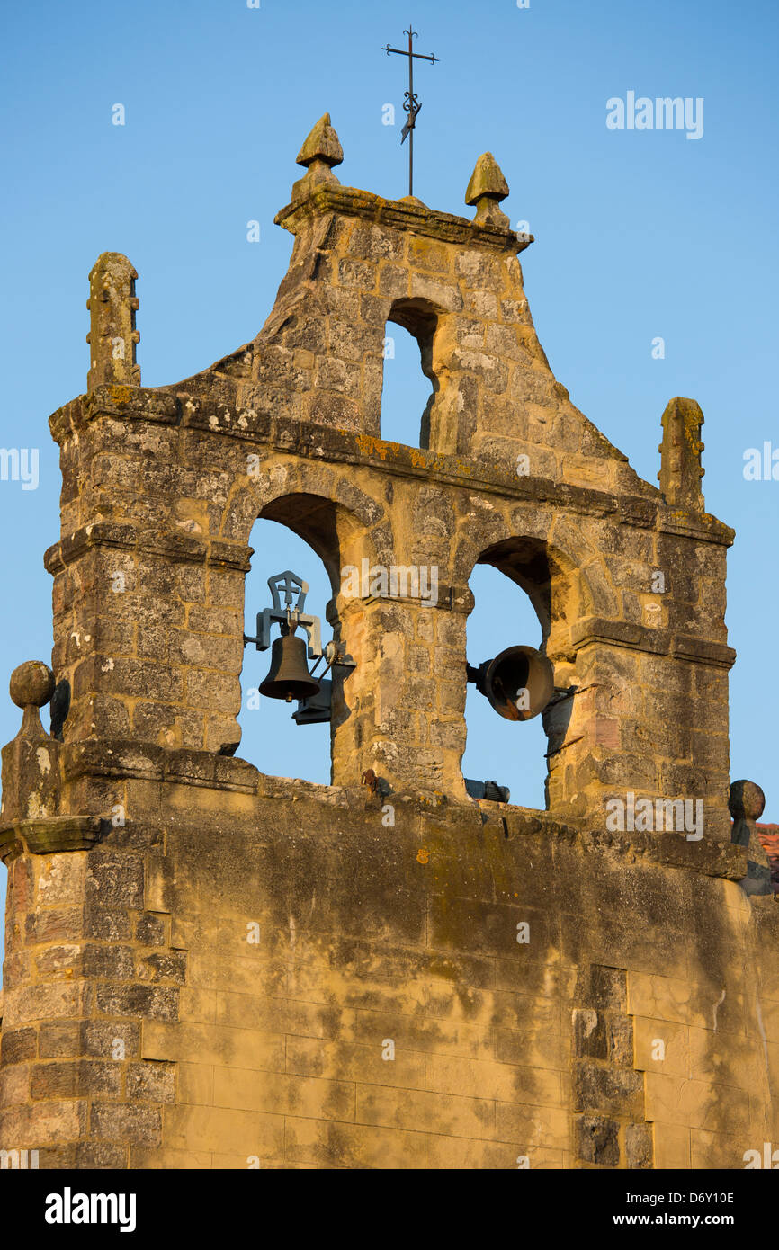 Belltower of church in Santillana del Mar, Cantabria, Northern Spain - Stock Image