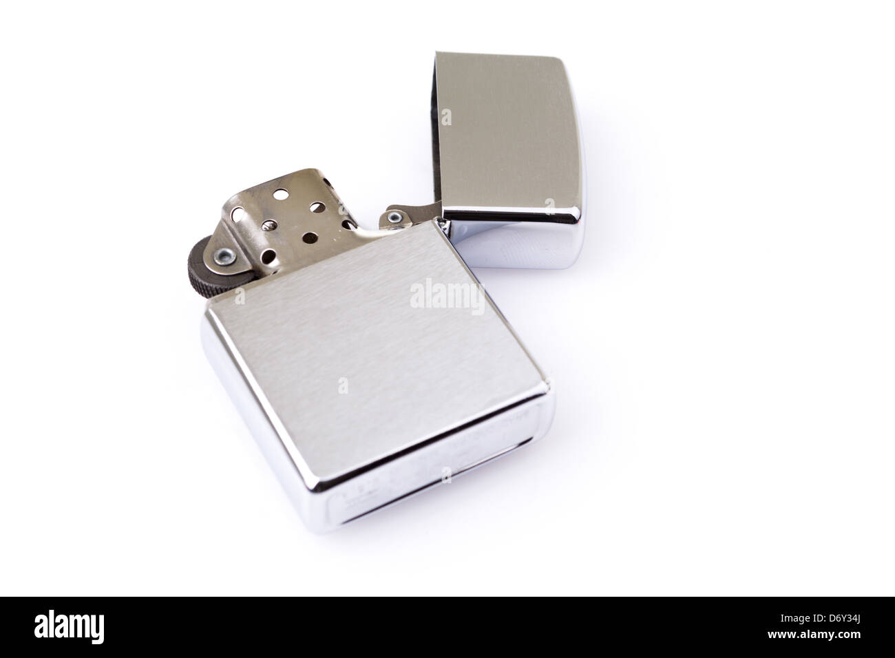 Silver metal zippo lighter isolated on white - Stock Image