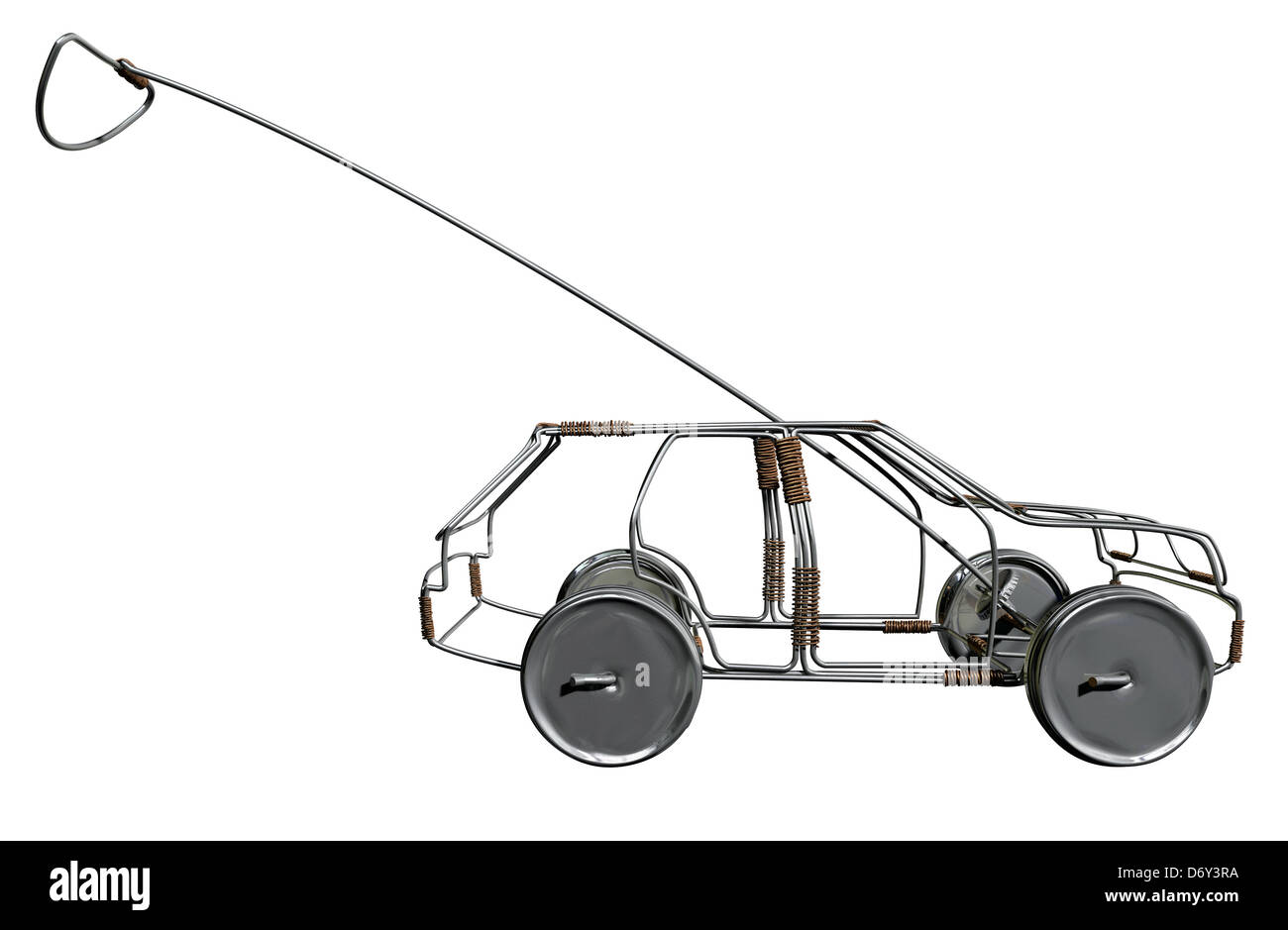 A traditional south african handmade wire toy car made out of metal and copper wire with tin cans as wheels on an Stock Photo