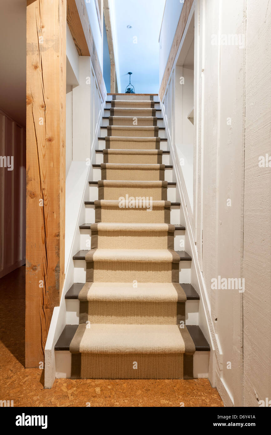 Stairway To Basement In Home Interior With Wood Paneling Stock Photo Alamy