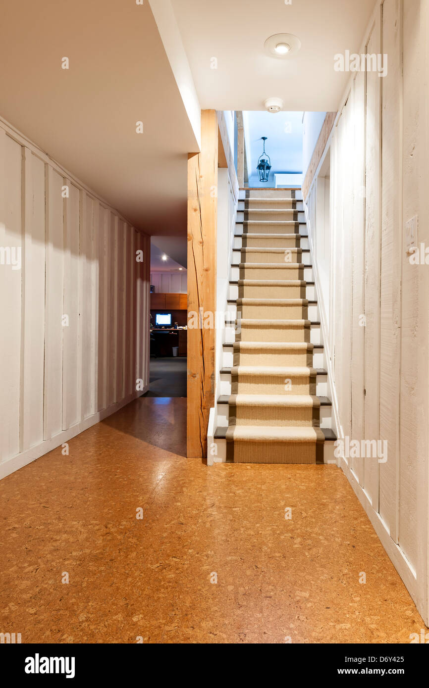 Interior Wood Paneling: Stairway To Finished Basement In Home Interior With Wood