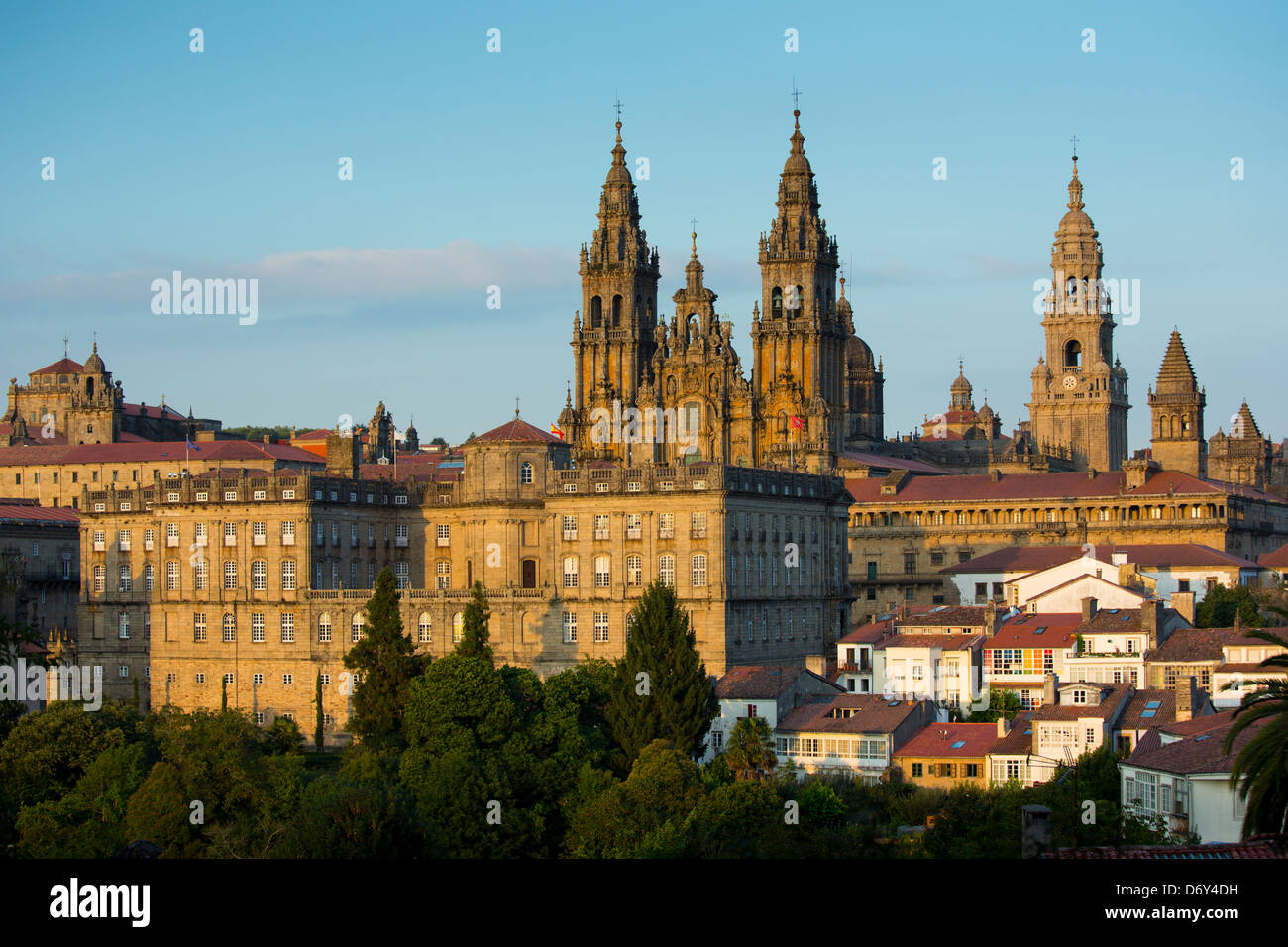 Roman Catholic cathedral, Catedral de Santiago de Compostela, and cityscape from Alameda Park, Galicia, Northern Stock Photo