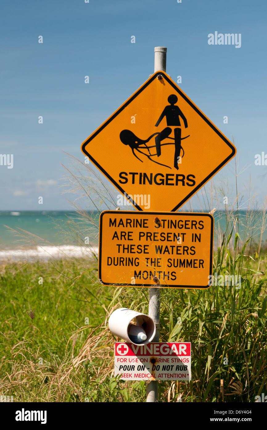 stinger warning sign in North Queensland, Australia - Stock Image