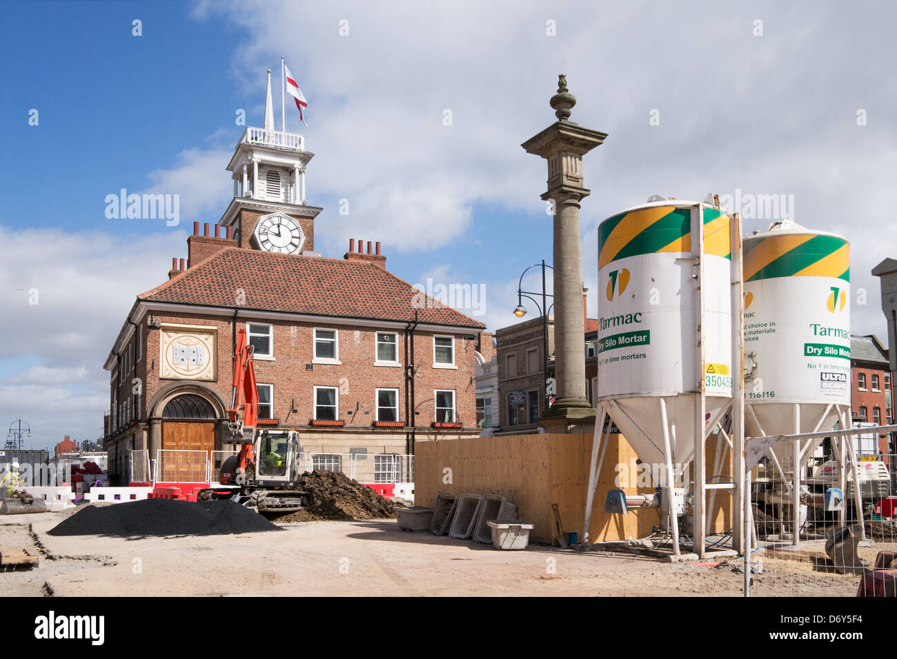 Construction work in progress in front of Stockton-on-Tees town  hall. - Stock Image