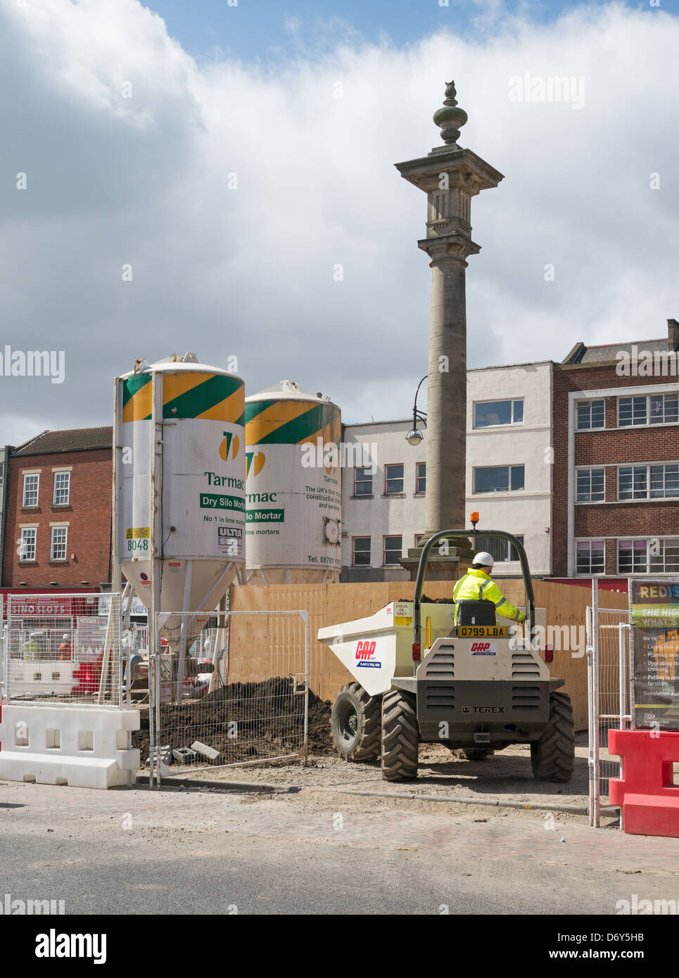Construction work in progress Stockton-on-Tees High Street - Stock Image