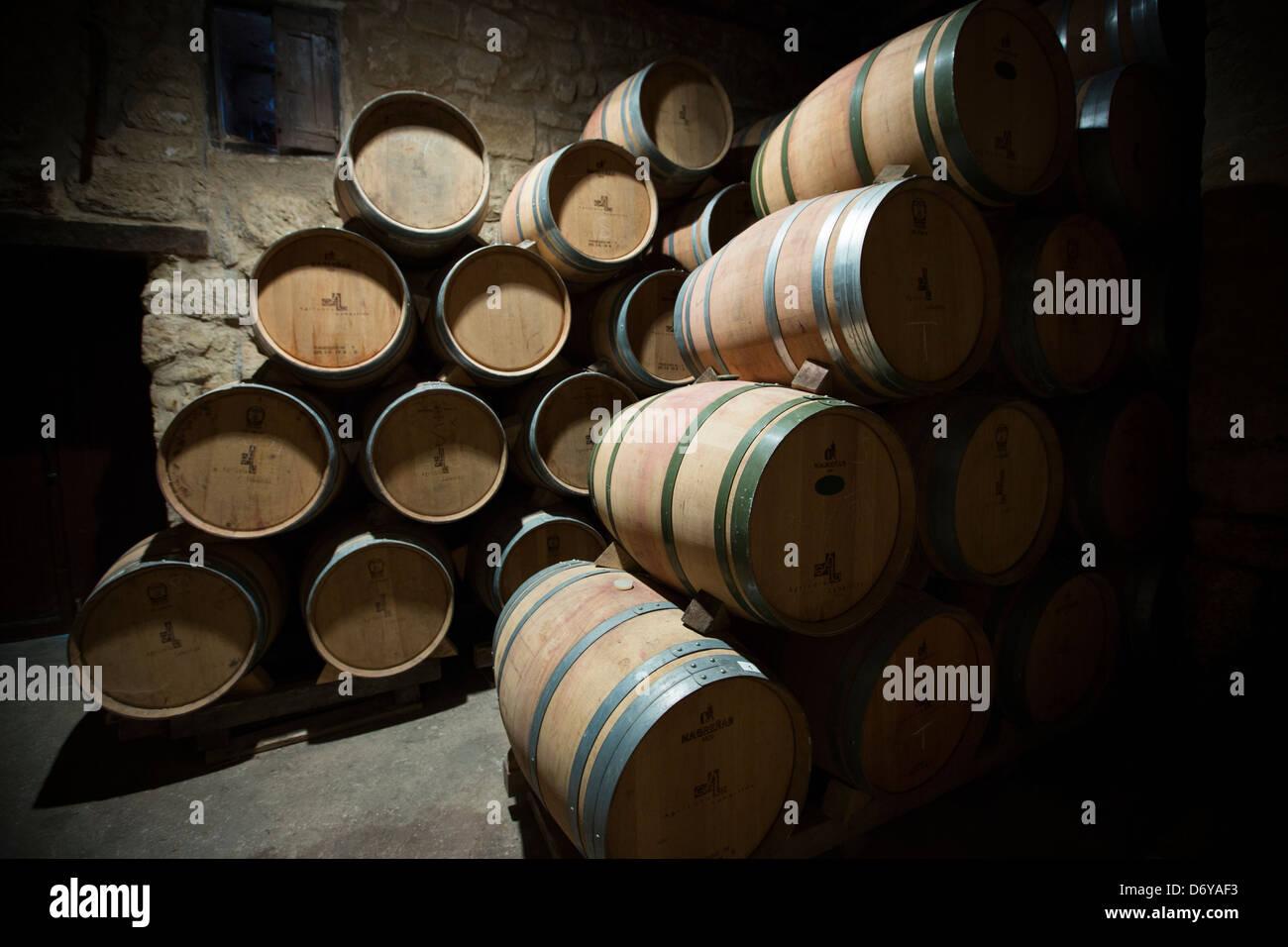 storage oak wine barrels. Rioja Wine In American Oak Barrels Cave At Bodegas Agricola Bastida Rioja-Alaveda Storage
