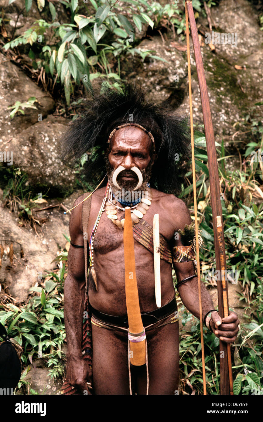 Portrait an indigenous man curved bone in his nose piercing and standing holding bow and arrow Irian Jaya New Guinea - Stock Image