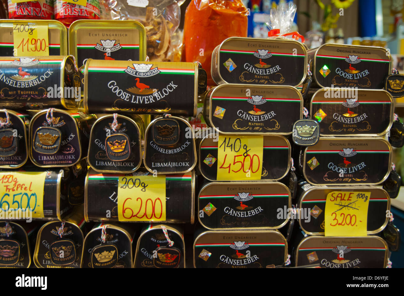Goose liver in tins Nagycsarnok the Great Market Hall central Budapest Hungary Europe - Stock Image