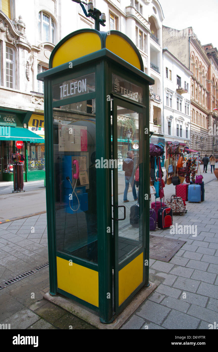 Telephone box Vaci utca street Budapest Hungary Europe - Stock Image