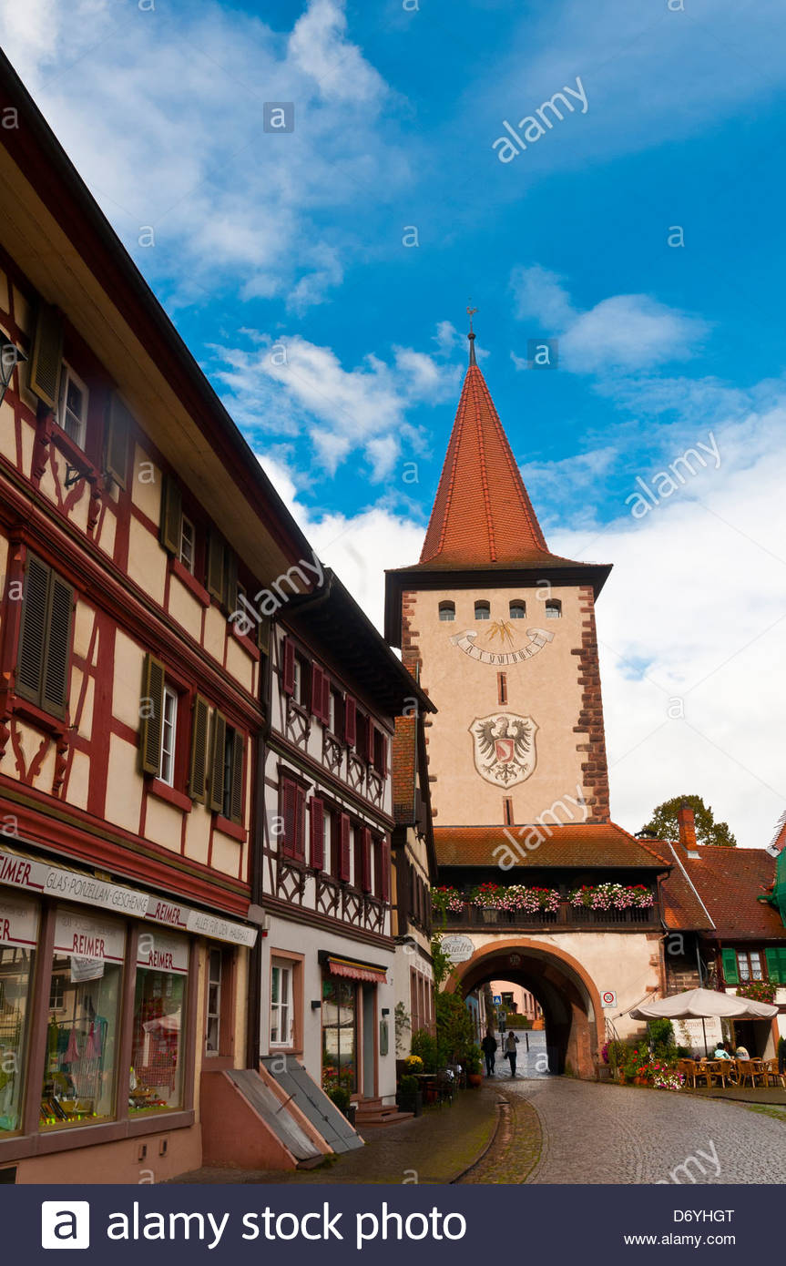 Obertorturm Tower In The Medieval Town Of Gengenbach Stock