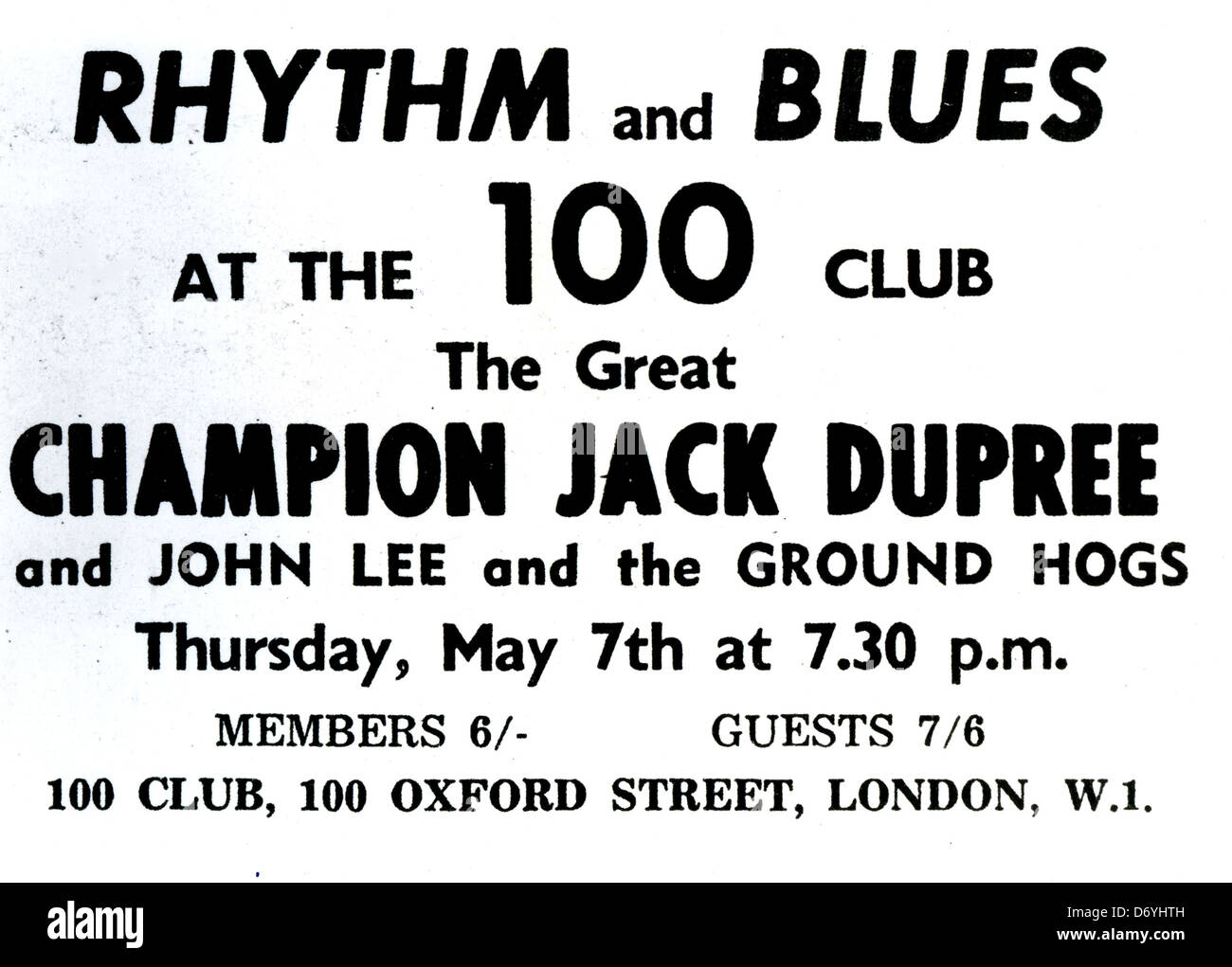 CHAMPION JACK DUPREE  advert for US Blues pianist at the London 100 Club in May 1964 - Stock Image
