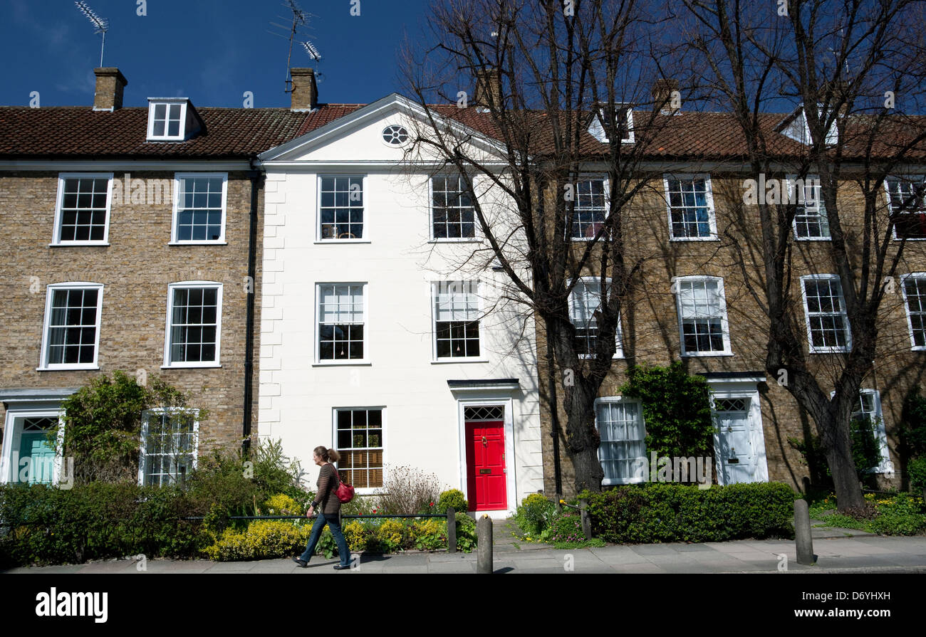 Modern (20th century) terraced houses in Canonbury, Islington, London - Stock Image