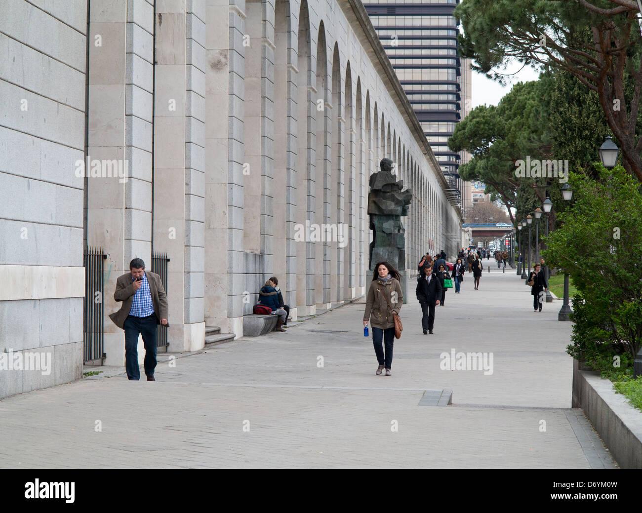 Paseo de la Castellana, at the government buildings of Nuevos Ministerios, Madrid, Spain Stock Photo