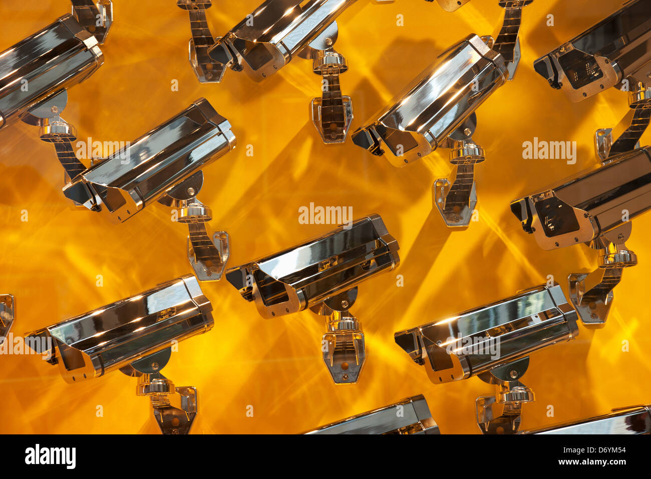 Surveillance camera sculptures at the Louis Vuitton store, Chicago, Cook County, Illinois, USA - Stock Image