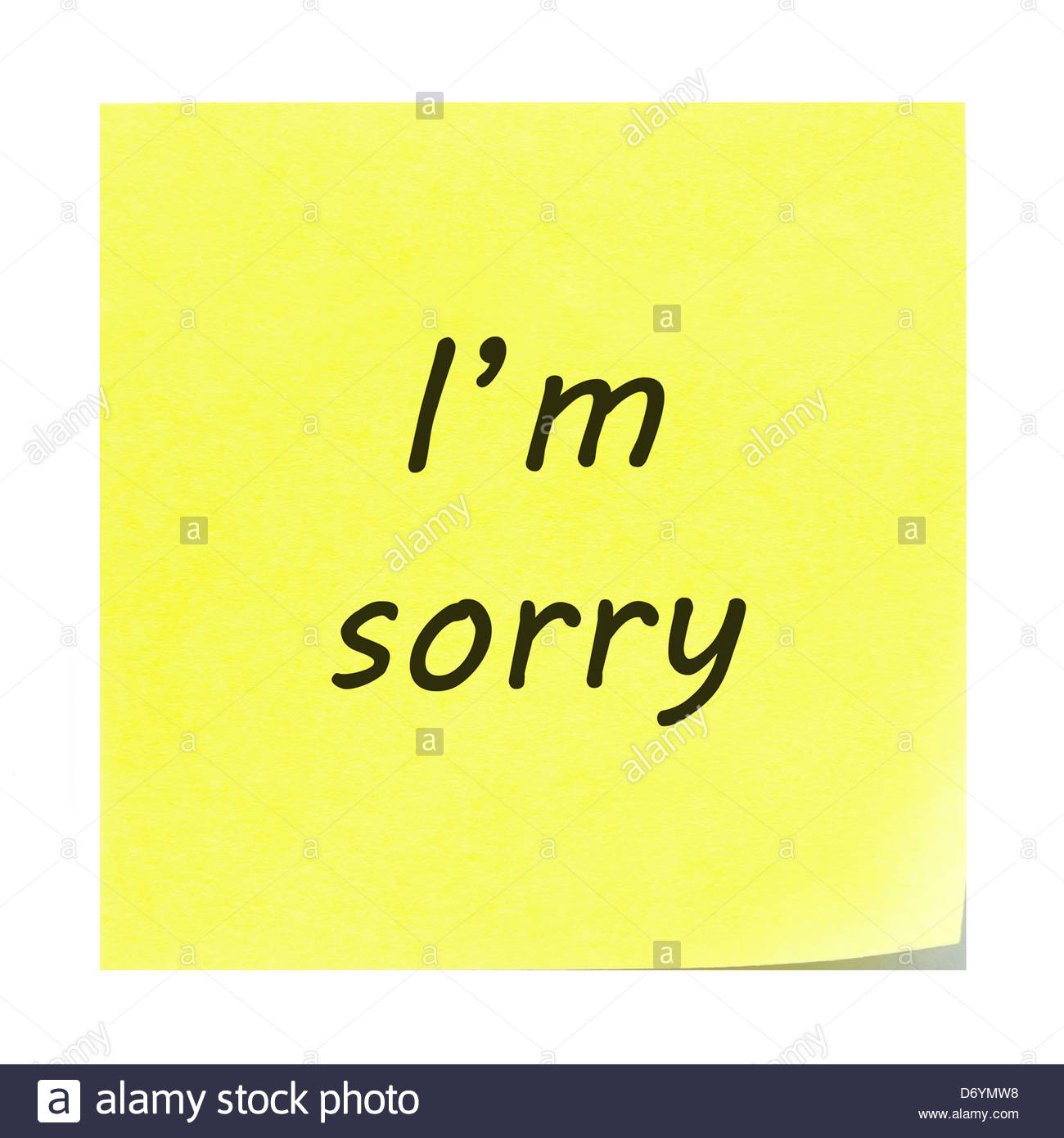 i m sorry written on a yellow sticky note post it note with the