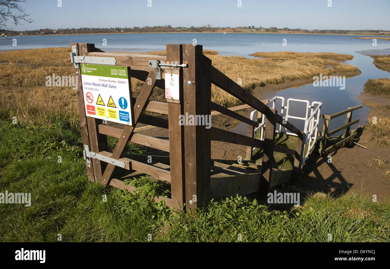 Water draining into River Deben at low tide from a sluice at Sutton, Suffolk, England - Stock Image