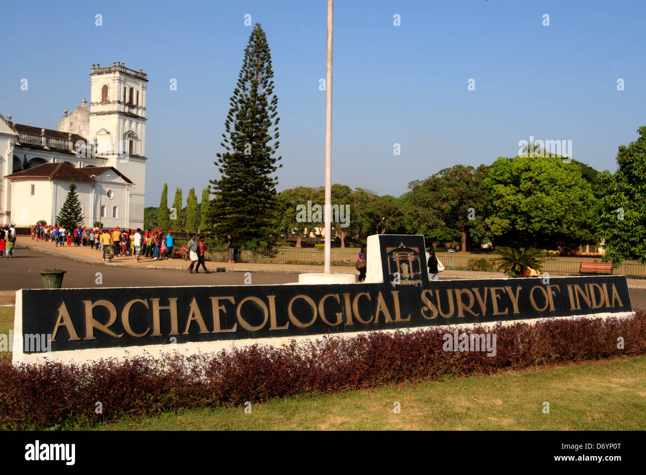 Archaeological Survey of India sign in front of the Se Cathedral, Old Goa, India Stock Photo