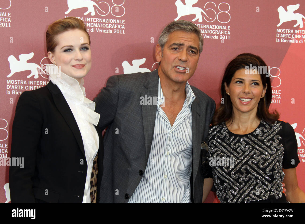 Evan Rachel Wood, George Clooney and Marisa Tomei 68th Venice Film Festival - Day 1- 'The Ides of March' - Stock Image