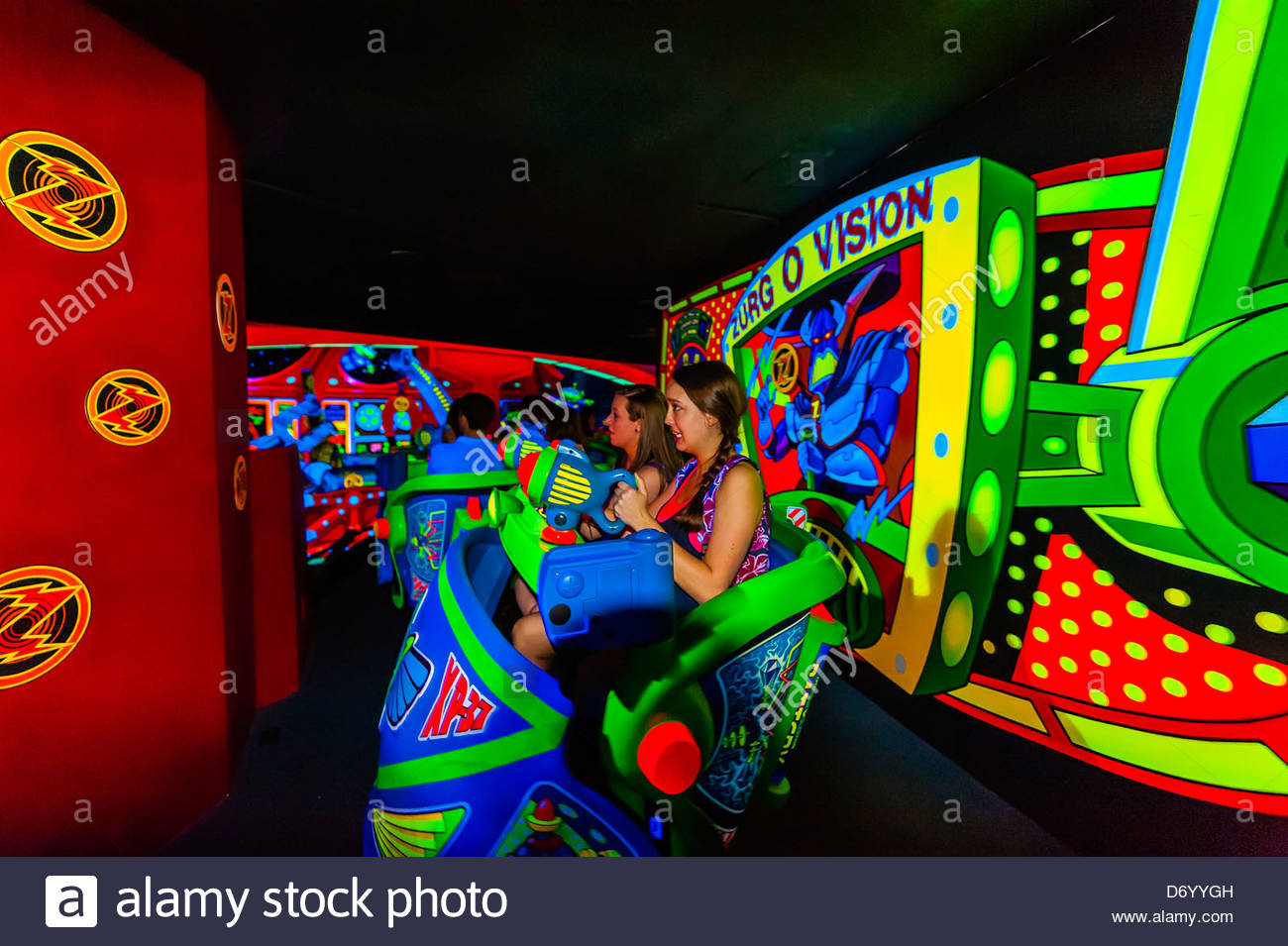 Buzz Lightyear's Space Ranger Spin ride, Magic Kingdom, Walt Disney World, Orlando, Florida USA - Stock Image