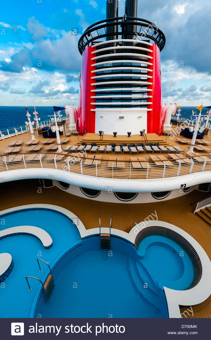 Swimming Pool Disney Dream Cruise Stock Photos & Swimming