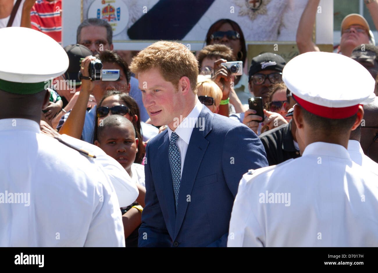 Britain's Prince Harry meets dignitaries at the opening of the Queen's Diamond Jubilee Exhibition in Rawson Square Stock Photo
