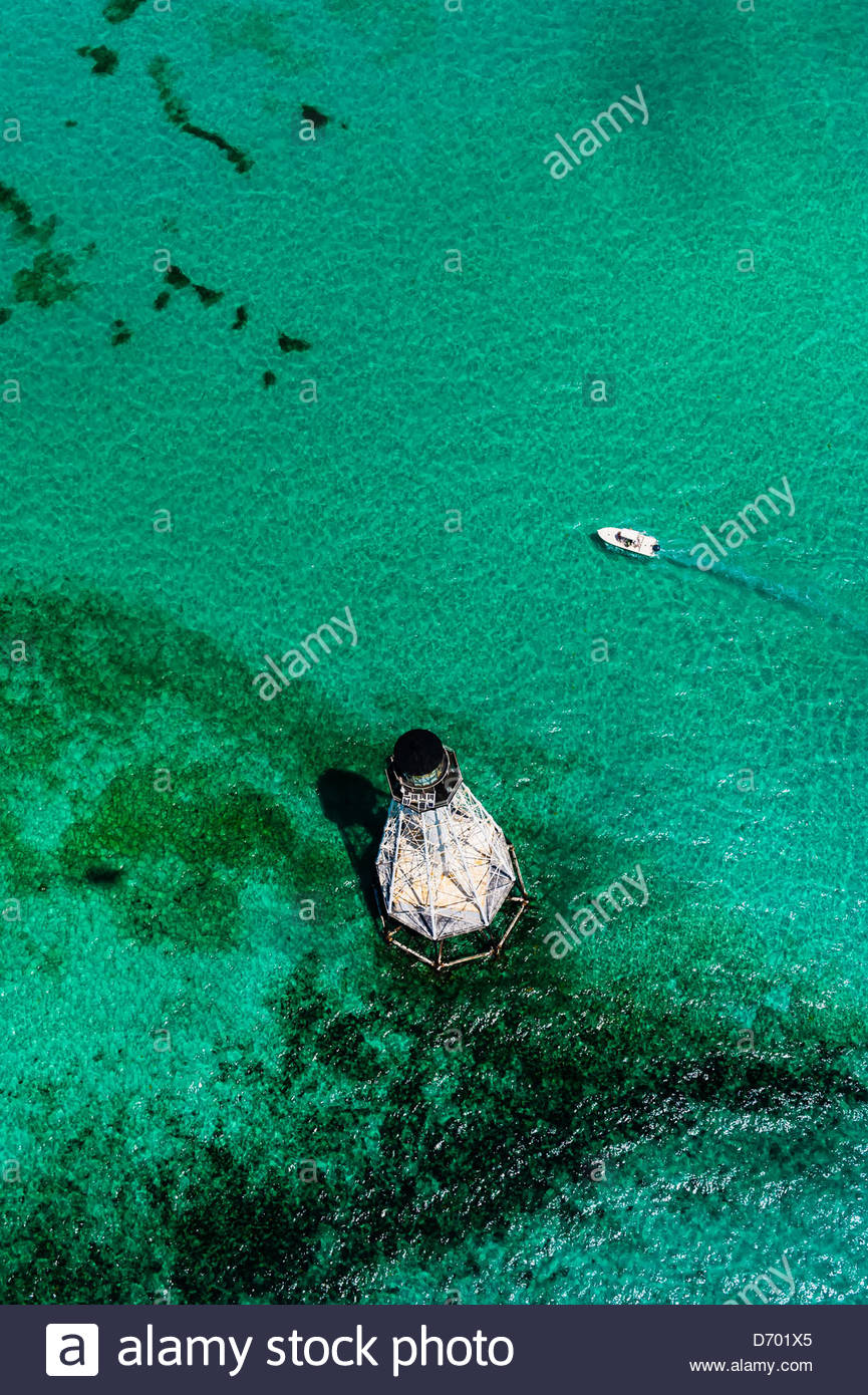Aerial View, Alligator Light (lighthouse), Islamorada Key, Florida Keys, Florida USA - Stock Image