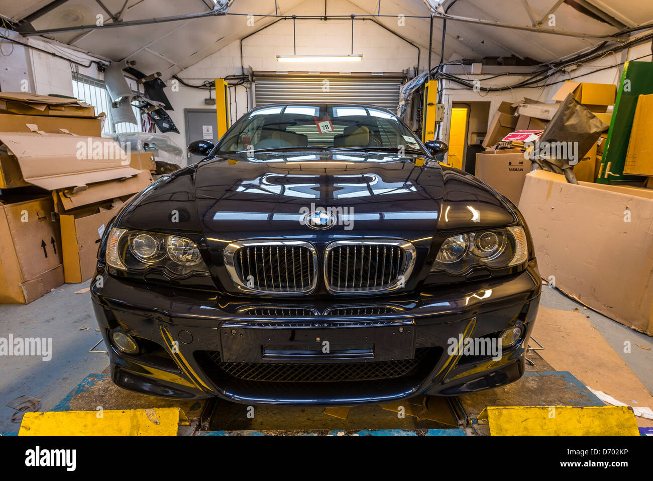 bmw m3 car repaired after crash,england,uk - Stock Image