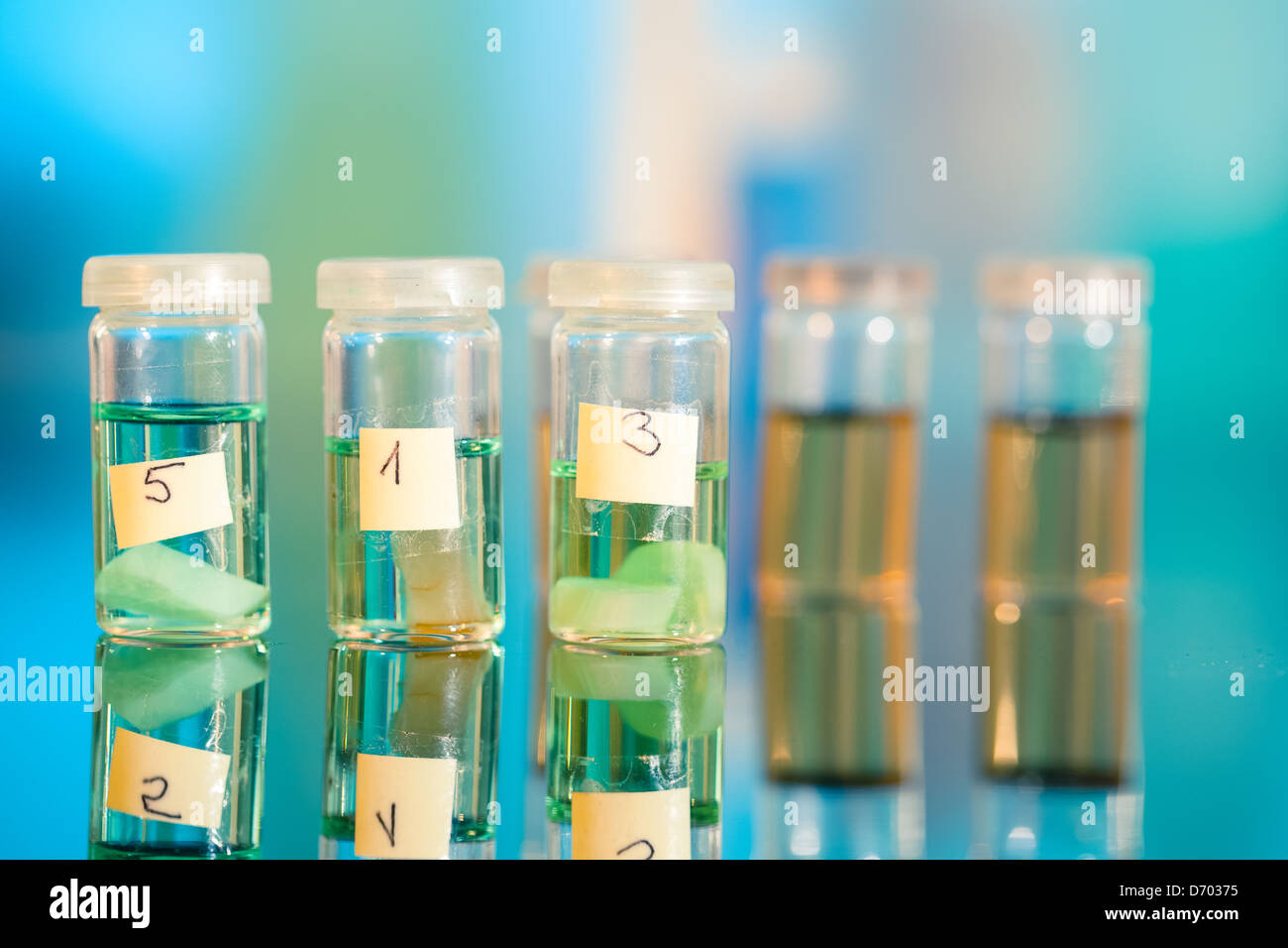 Three samples in plastic vials for microscopy and biopsy tissue . biological laboratory - Stock Image