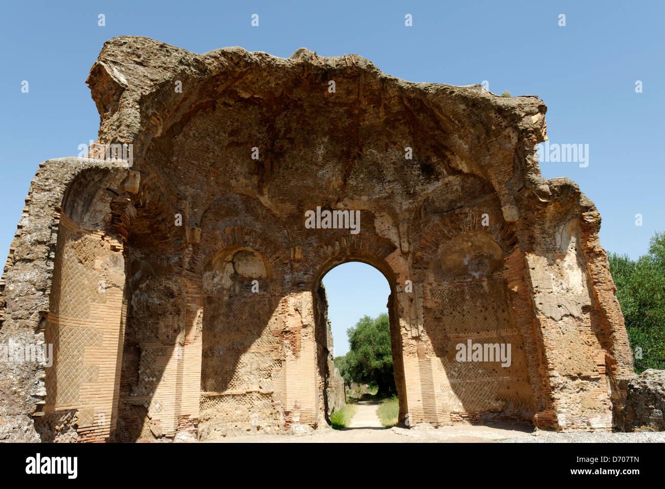 Villa Adriana. Tivoli. Italy. View of entrance Vestibulum of the Piazza d'Oro or Golden Square, so named because Stock Photo