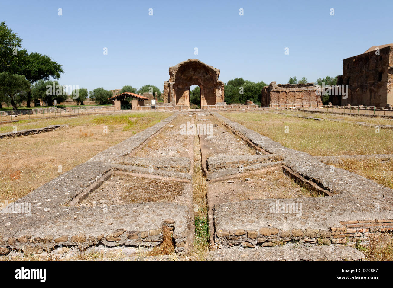 Villa Adriana. Tivoli. Italy. View of the central courtyard of the Piazza d'Oro or Golden Square, so named because Stock Photo