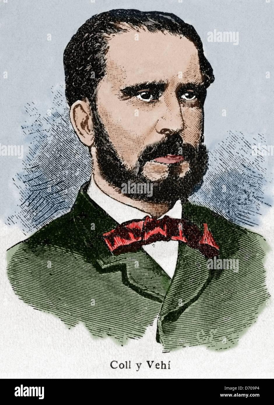 Jose Coll Vehi (1823 -1876). Spanish literary theorist. Engraving in History of Spain, edited by Blas Cami, 1910. - Stock Image