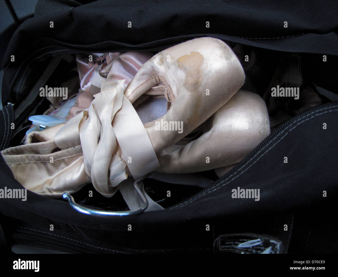750921d57 Well worn ballet pointe shoes in bag Stock Photo  55943505 - Alamy